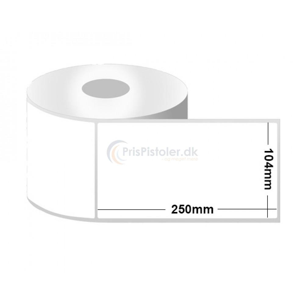 Hvid Thermo etiketter 104x250 mm - pakke m. 6 ruller - 1.800 etiketter