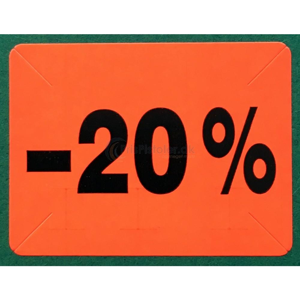 """Label """"20% rabat"""" – Pakke m. 10 ruller"""