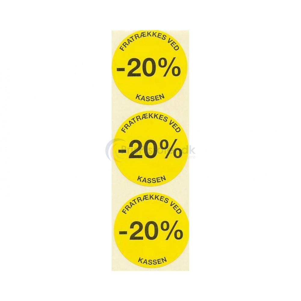 20 % rabat etiketter - 1 rulle