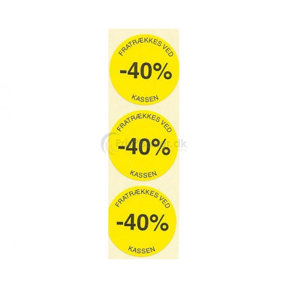 40 % rabat etiketter - 1 rulle