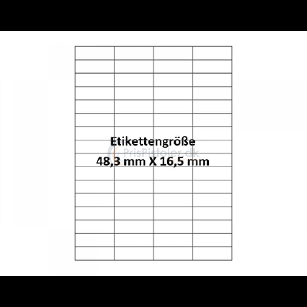 48,3x16,5 mm vandopløselig label på A4 ark - Pakke m. 50 ark