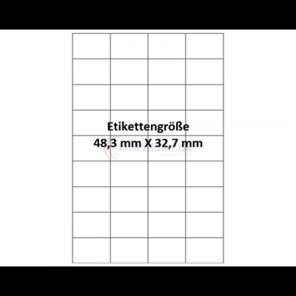 48,3x32,7 mm vandopløselig label på A4 ark - Pakke m. 50 ark
