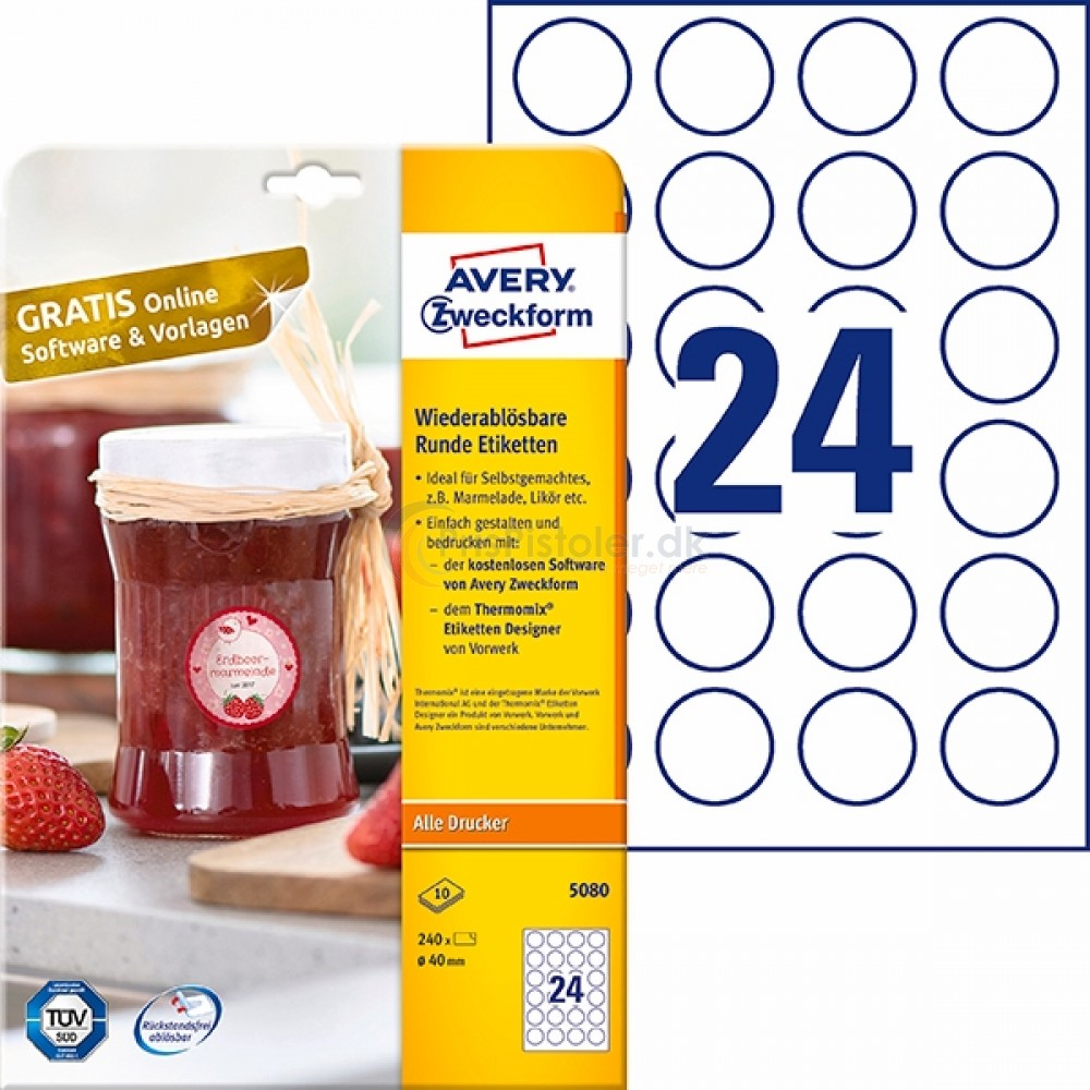 Aftagelige runde produktetiketter A4-ark