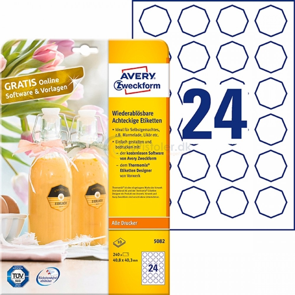 Aftagelige ottekantede produktetiketter A4-ark