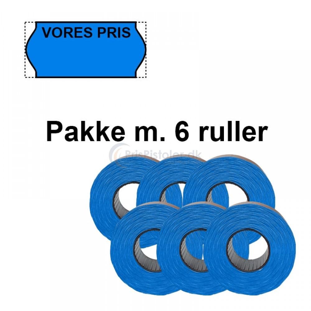 """Universale Prismærker 26x12mm perm blå med """"VORES PRIS"""" foroven - Pakke m. 6 ruller"""