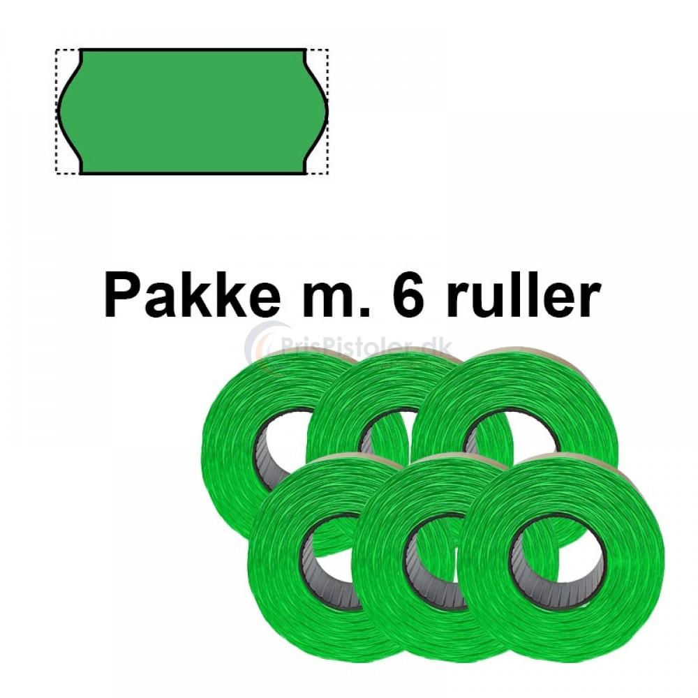 Universale Prismærker 26x12mm aftagelig fluor grøn - Pakke m. 6 ruller