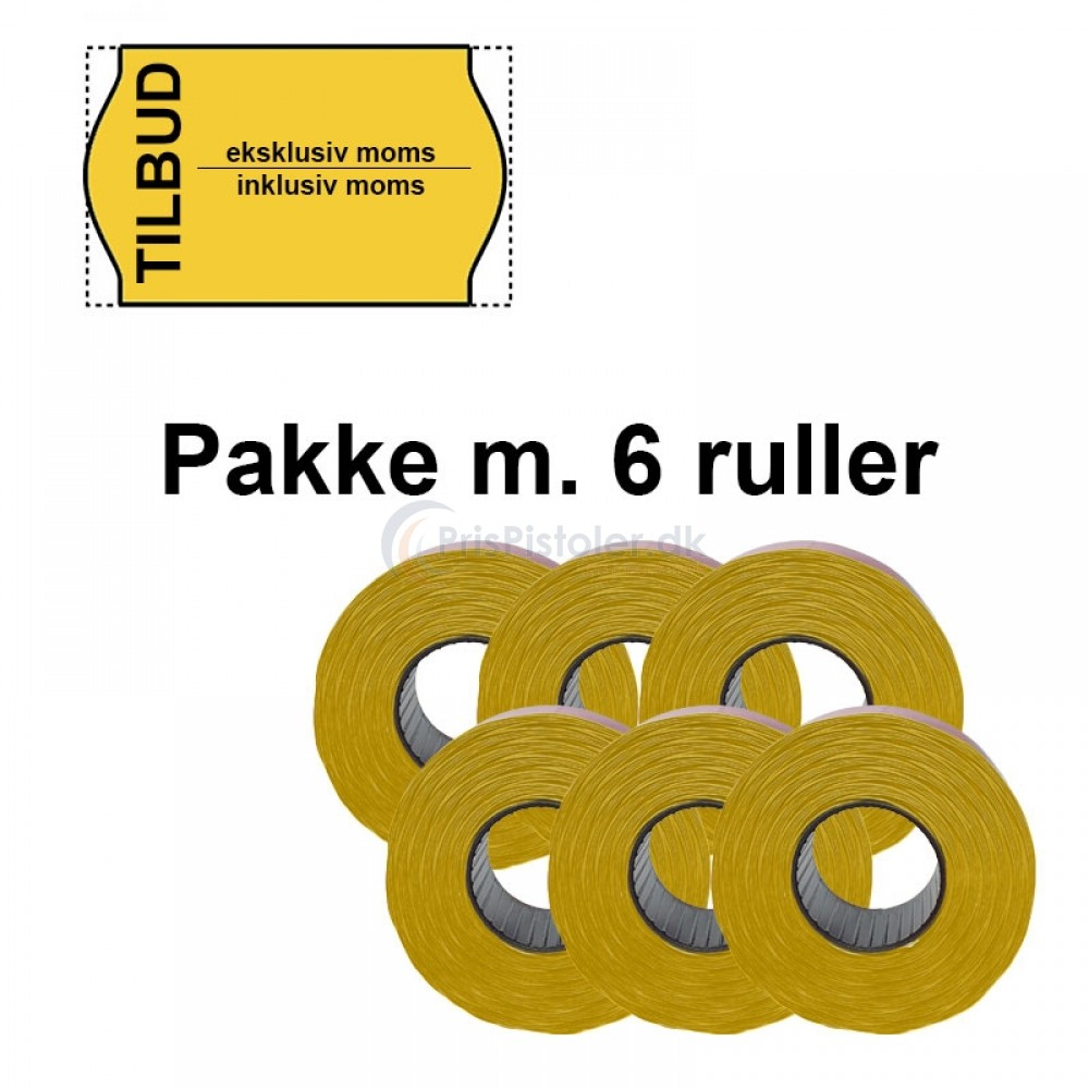 """Universal Prismærker 26x16mm perm. gul - tryk med """"TILBUD eksklusiv moms / inklusiv moms"""" - Pakke m. 6 ruller"""