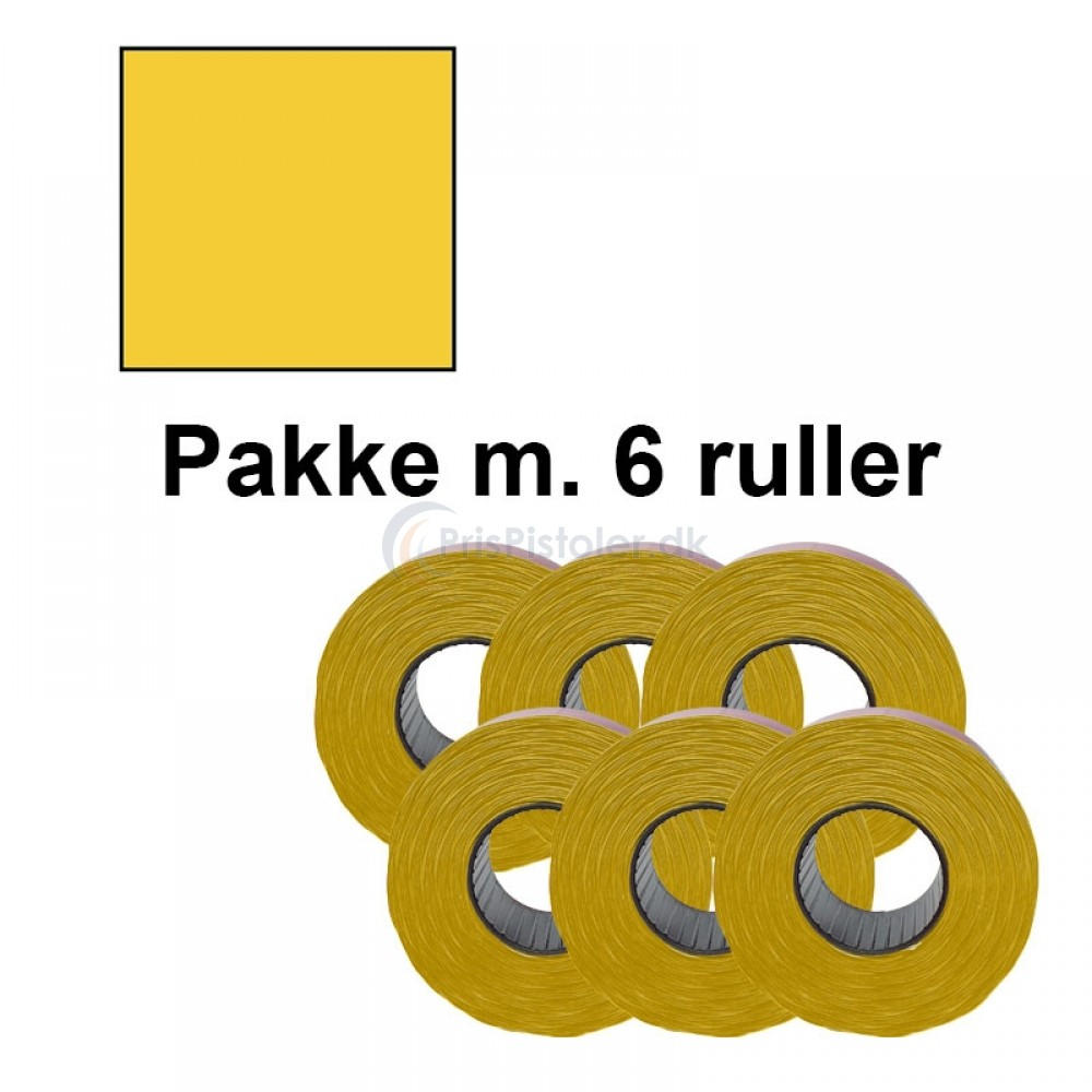 Prismærke 29x28mm perm. gul - Pakke m. 6 ruller