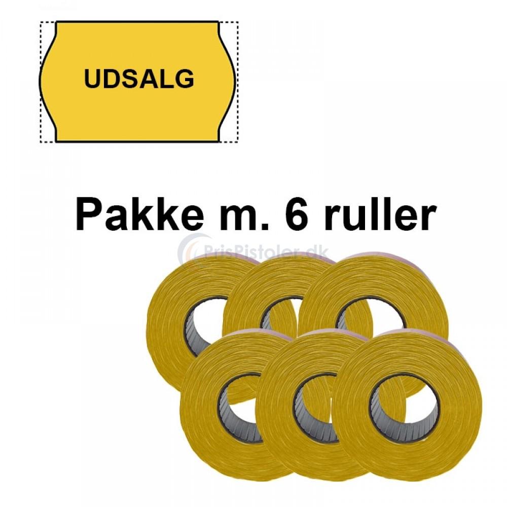 """Universal Prismærker 26x16mm perm. gul - tryk med """"UDSALG"""" midt - Pakke m. 6 ruller"""