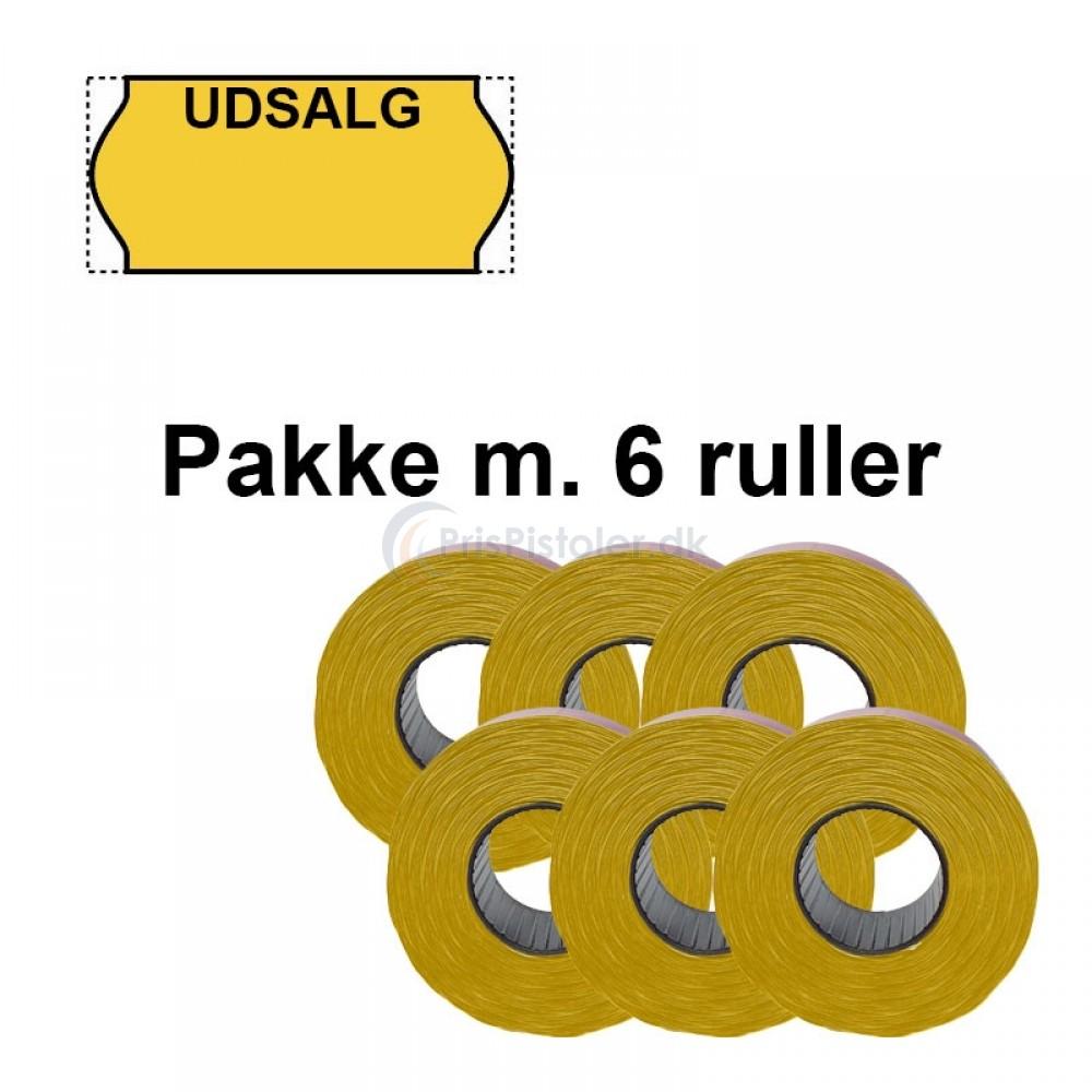 """Universale Prismærker 26x12mm perm gul med """"UDSALG"""" foroven - Pakke m. 6 ruller"""