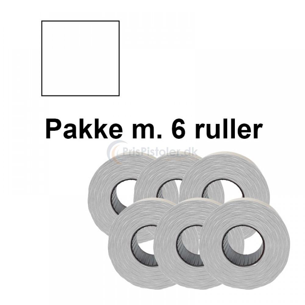 Prismærker PB2 18x16mm aftag. hvid - Pakke m. 6 ruller