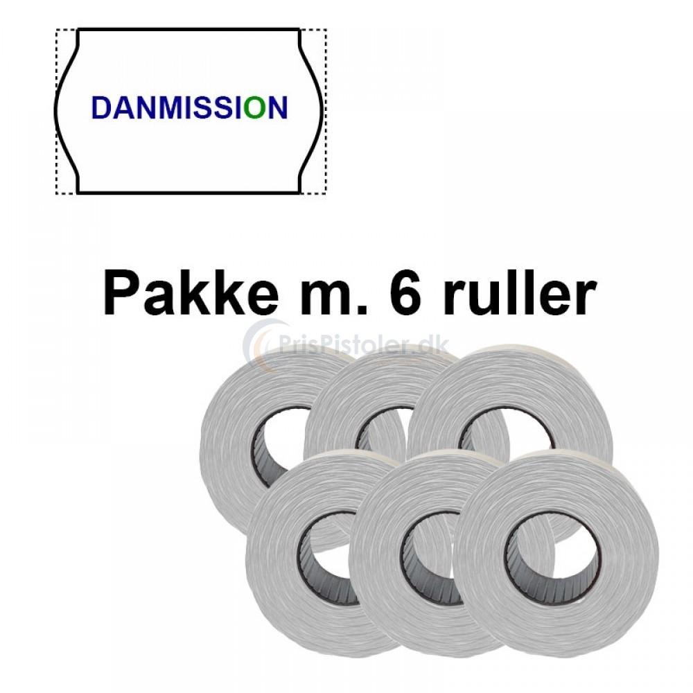 """Universale Prismærker 26x16mm perm hvid med """"DANMISSION"""" midt - Pakke m. 6 ruller"""
