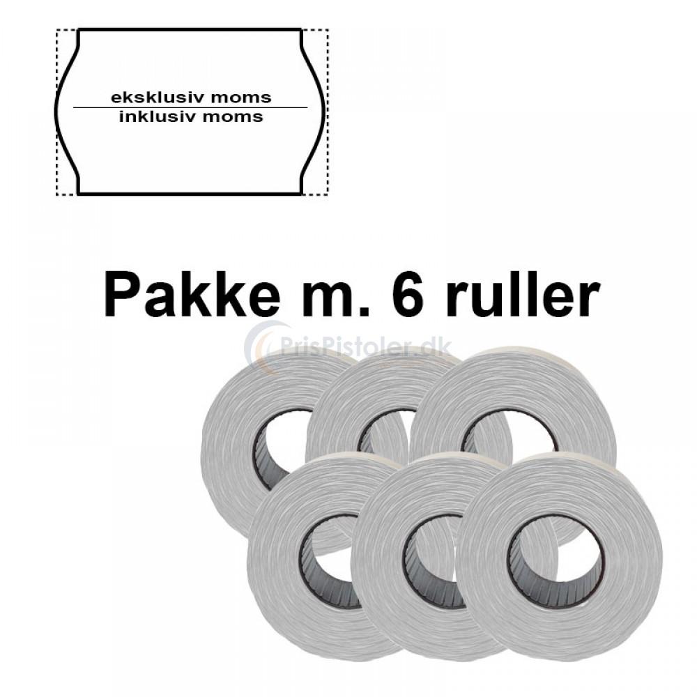 """Universal Prismærker 26x16mm perm. hvid - tryk med """"eksklusiv moms/inklusiv moms"""" - Pakke m. 6 ruller"""