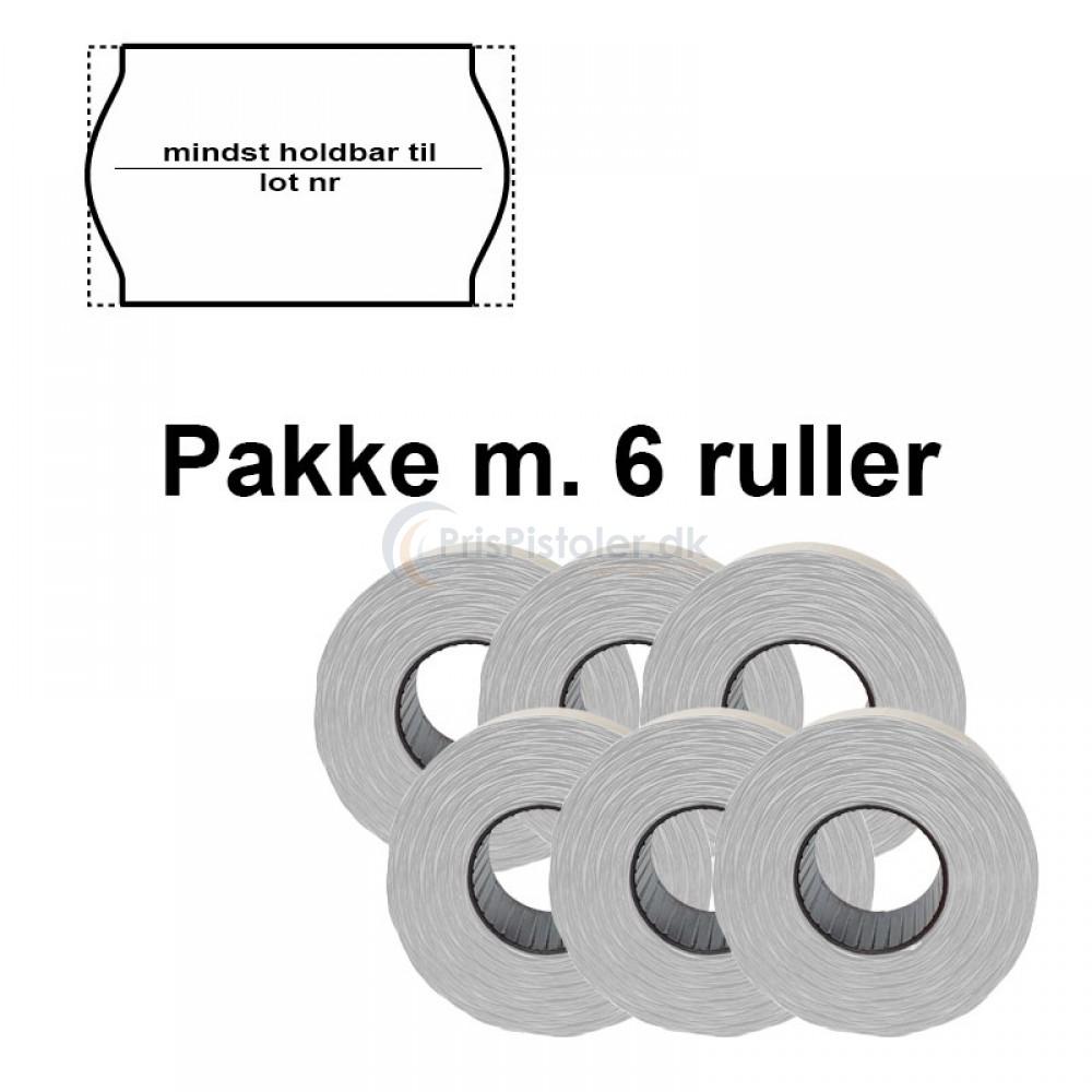 """Universal Prismærker 26x16mm perm. hvid - tryk med """"mindst holdbar til/lot nr"""" - Pakke m. 6 ruller"""