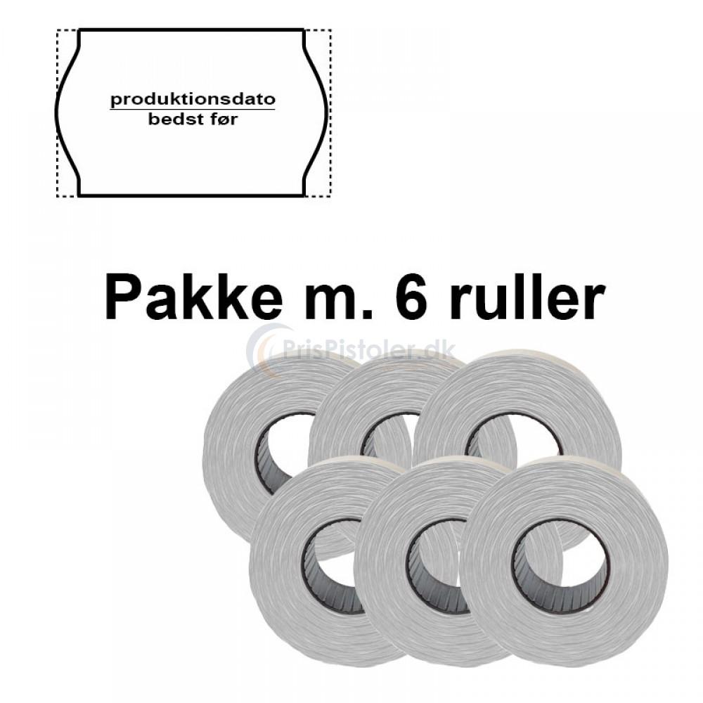 """Universal Prismærker 26x16mm perm. hvid - tryk med """"produktionsdato/bedst før"""" - Pakke m. 6 ruller"""