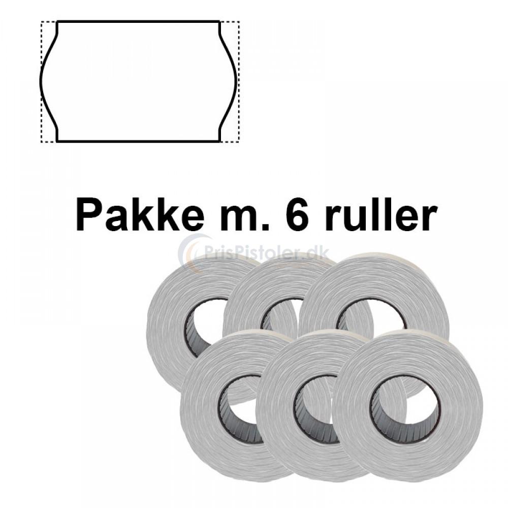Universale Prismærker 26x16 mm vandopløselig hvid - Pakke m. 6 ruller