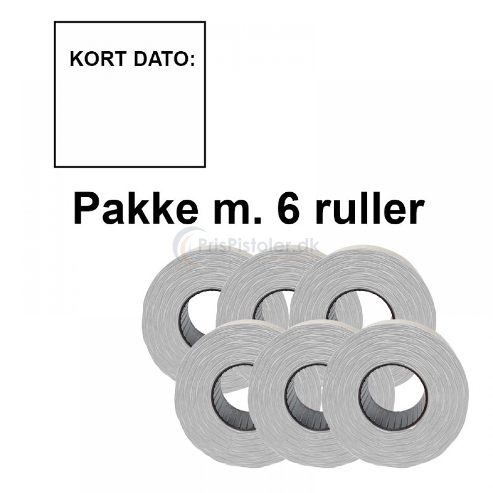 """Prismærke 29x28mm perm. hvid """"KORT DATO:"""" - Pakke m. 6 ruller"""