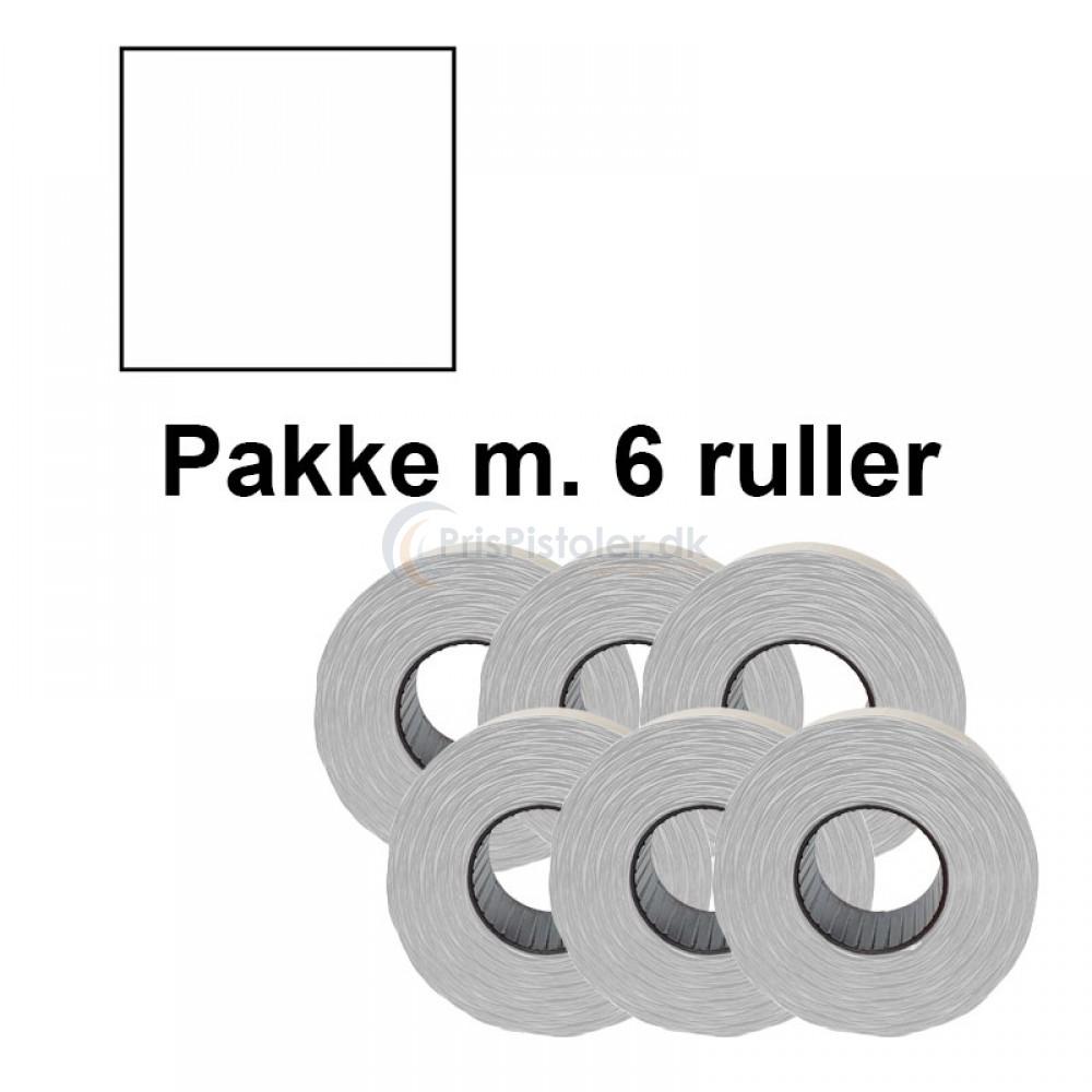 Prismærke 29x28mm aftag. hvid - Pakke m. 6 ruller