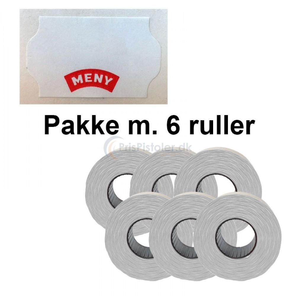 """Universal Prismærker 32x19mm perm. hvid med """"MENY"""" - Pakke m. 6 ruller"""