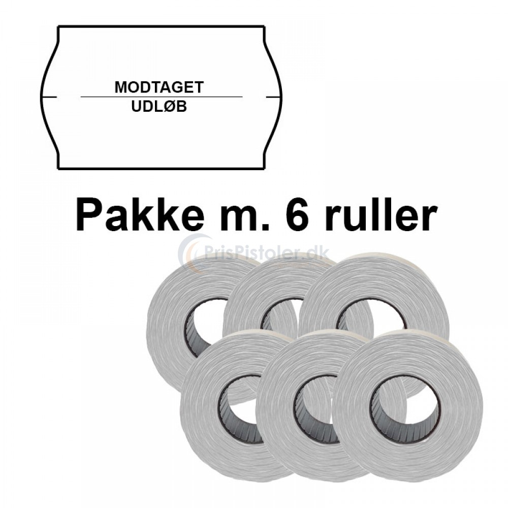 """Universal Prismærker 32x19mm perm. hvid """"modtaget/udløb"""" midt - Pakke m. 6 ruller"""