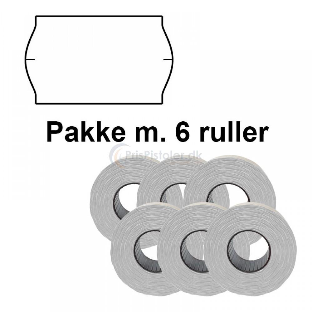 Universal Prismærker 32x19mm perm. hvid - Pakke m. 6 ruller