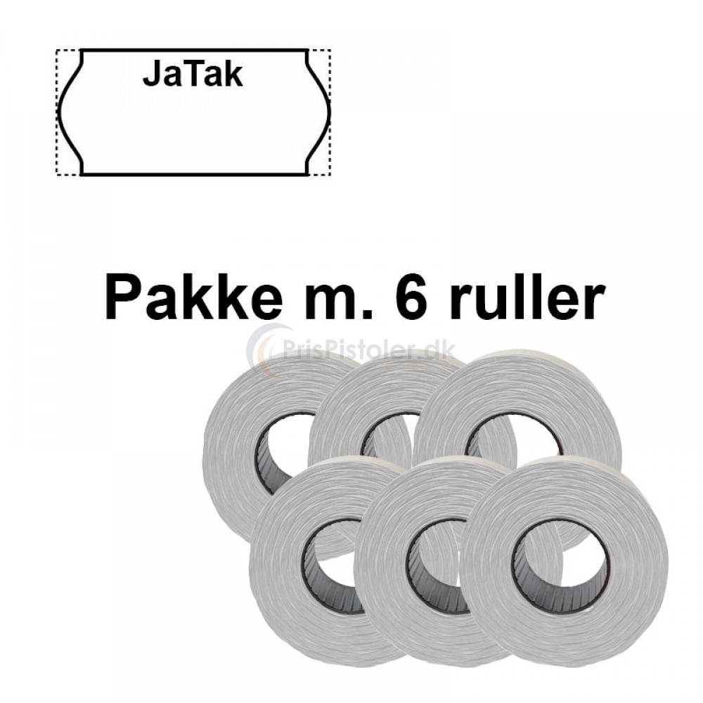"""Prismærke """"JaTak"""" 26x12mm perm hvide - Pakke m. 6 ruller"""