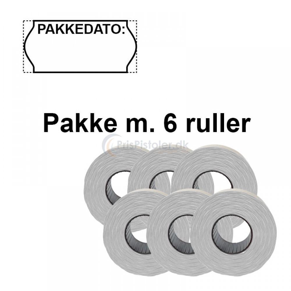 """Universale Prismærker 26x12mm perm hvid """"Pakkedato:"""" - Pakke m. 6 ruller"""
