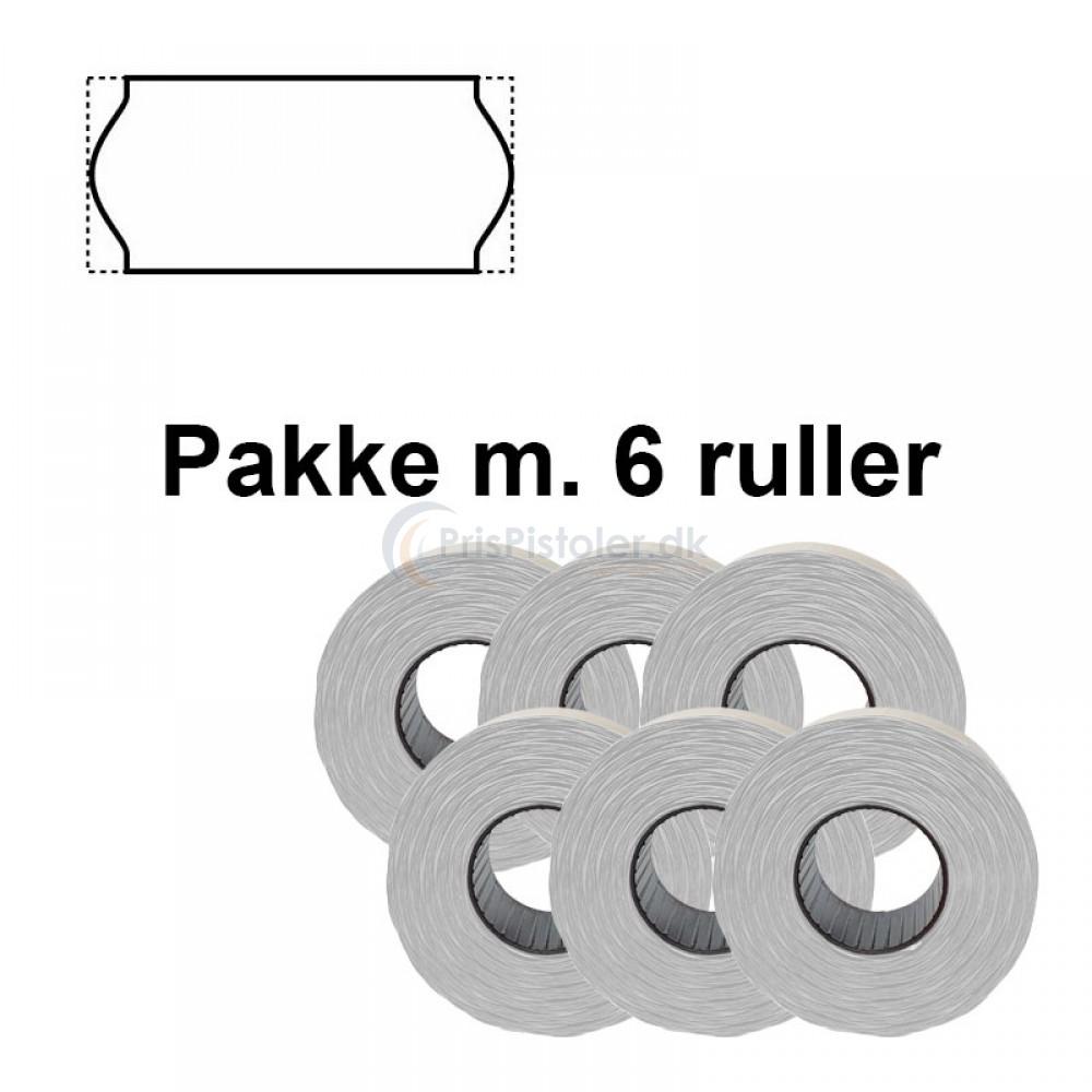 Universale Prismærker 26x12mm perm hvide - Pakke m. 6 ruller