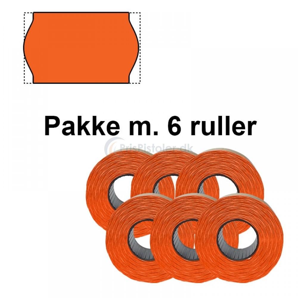 Universal Prismærker 26x16mm perm Fluor Orange - Pakke m. 6 ruller