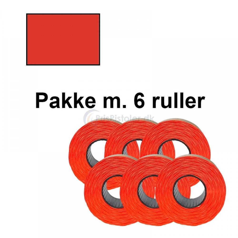 Prismærker PB220 23,1x16,2mm aftag. fluor rød - Pakke m. 6 ruller