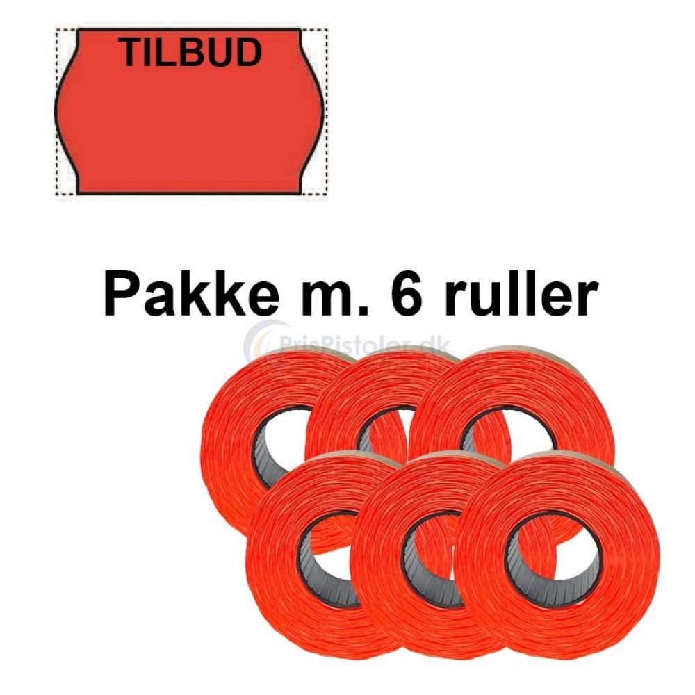 """Universal Prismærker 26x16mm aftagelig rød - tryk med """"TILBUD"""" - Pakke m. 6 ruller"""
