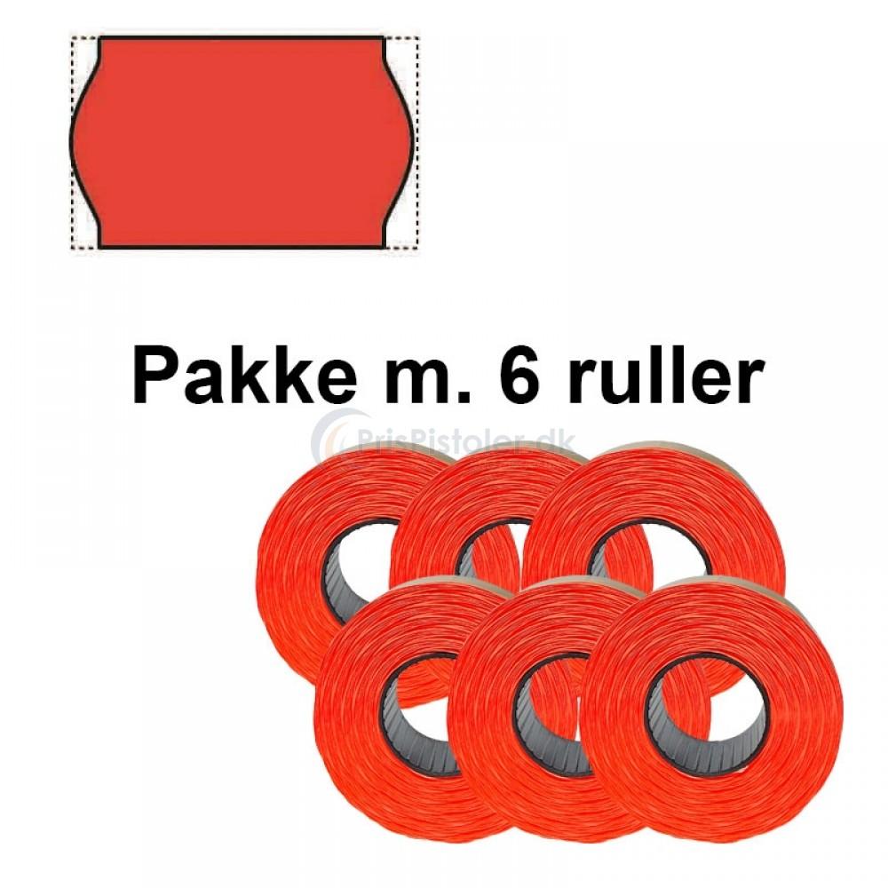 Meto Prismærker 26x16mm fluor rød perm. - Pakke m. 6 ruller