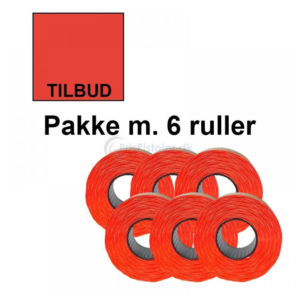 """Prismærke 29x28mm perm. fluor rød """"TILBUD"""" forneden - Pakke m. 6 ruller"""