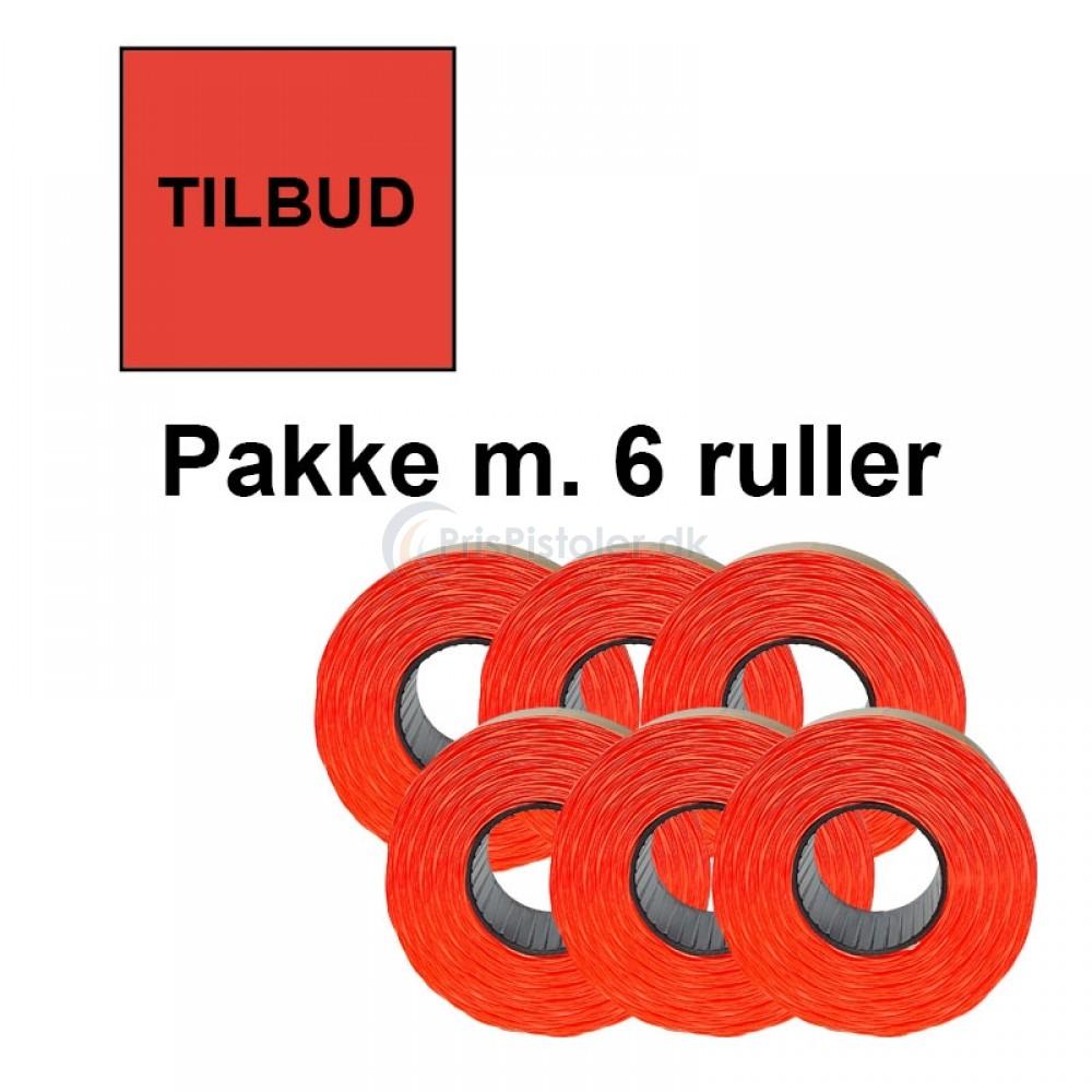 """Prismærke 29x28mm perm. fluor rød """"TILBUD"""" - Pakke m. 6 ruller"""