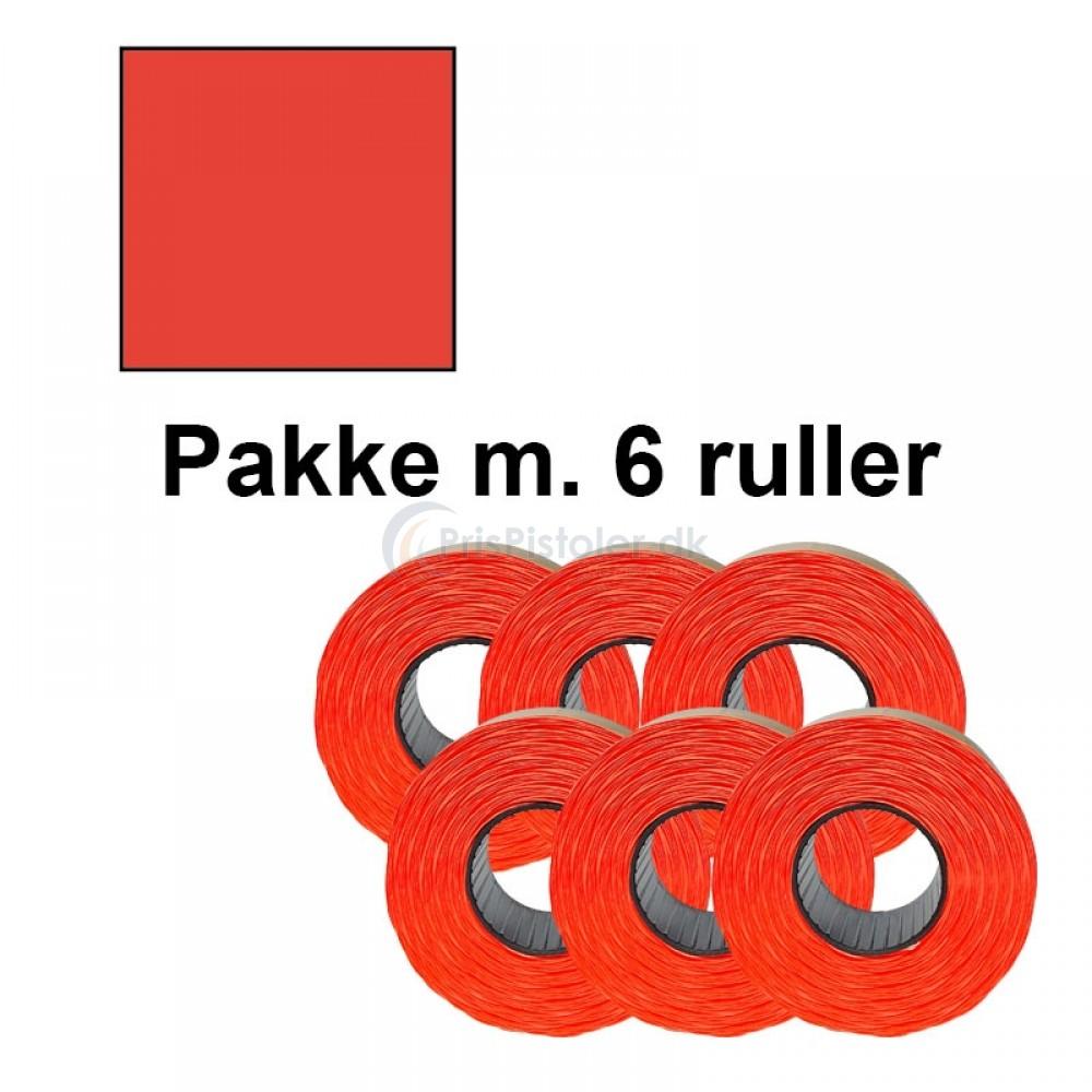 Prismærke 29x28mm aftag. fluor rød - Pakke m. 6 ruller