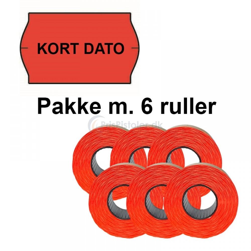 """Universal Prismærker 32x19mm perm. fluor rød med """"KORT DATO"""" midt - Pakke m. 6 ruller"""