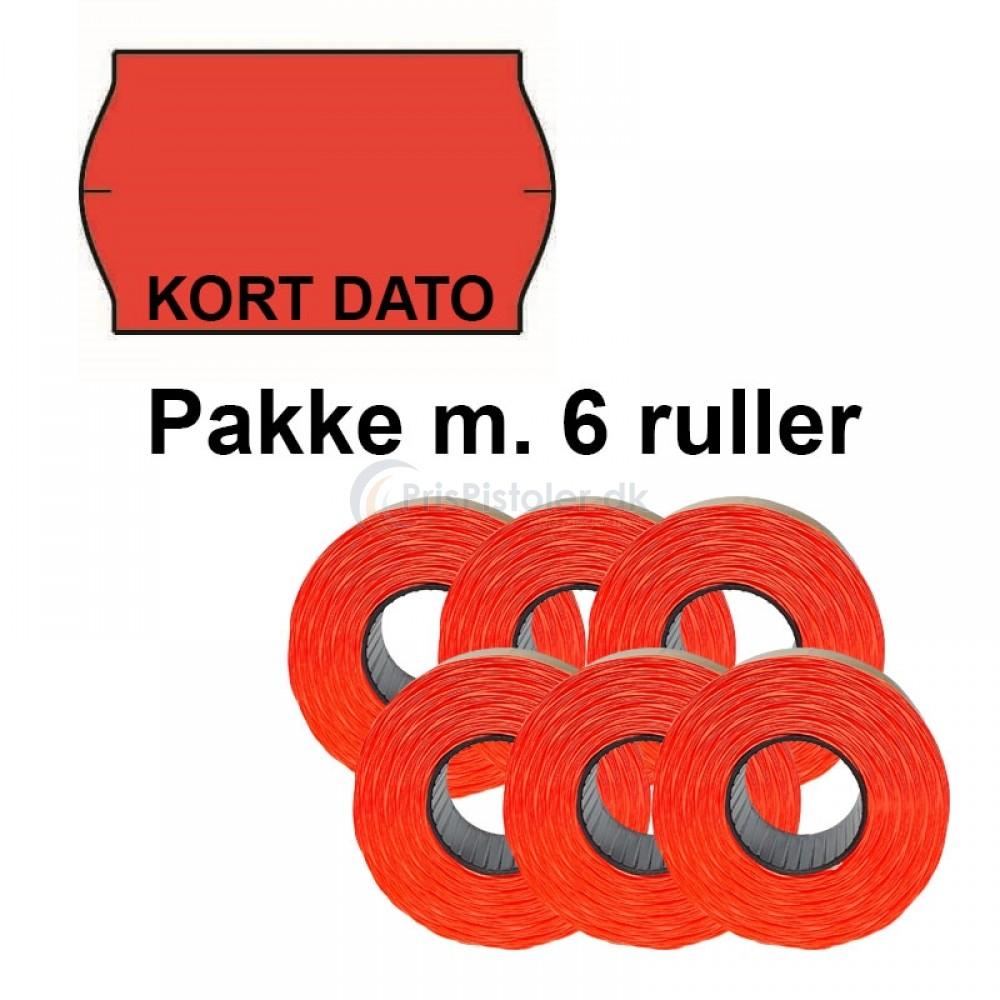 """Universal Prismærker 32x19mm perm. fluor rød med """"KORT DATO"""" forneden - Pakke m. 6 ruller"""