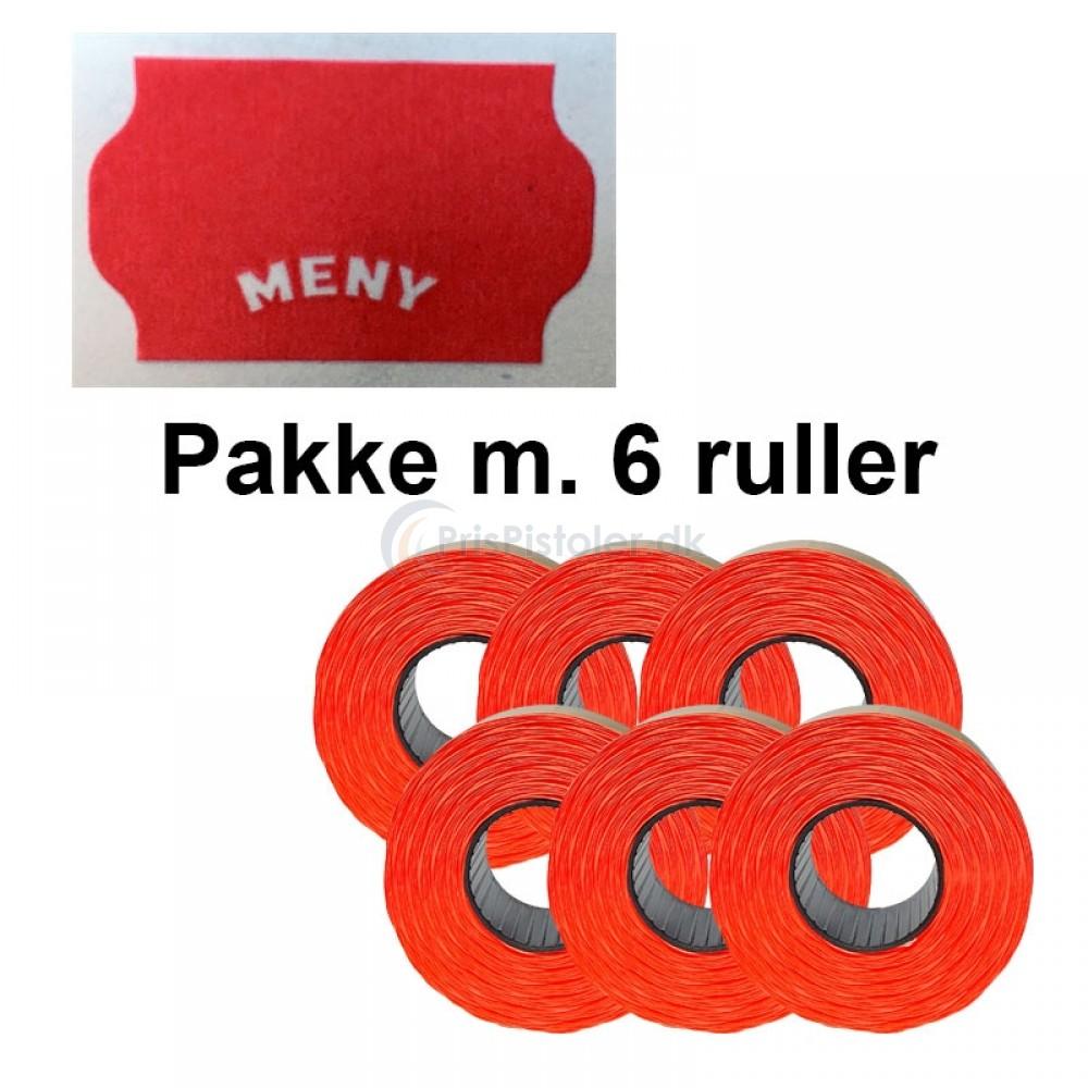 """Universal Prismærker 32x19mm perm. rød med """"MENY"""" - Pakke m. 6 ruller"""