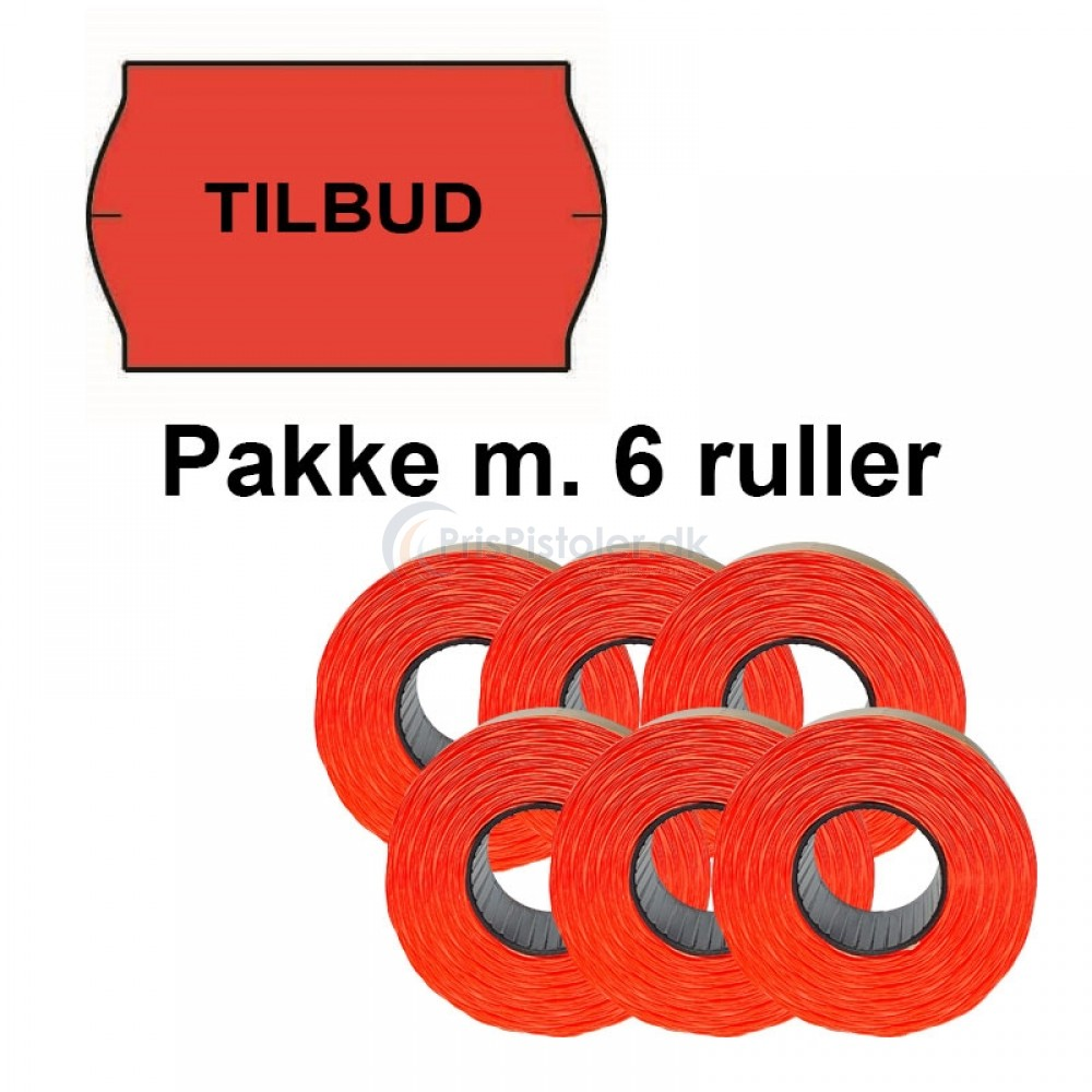 """Universal Prismærker 32x19mm perm. fluor rød med """"TILBUD"""" midt - Pakke m. 6 ruller"""