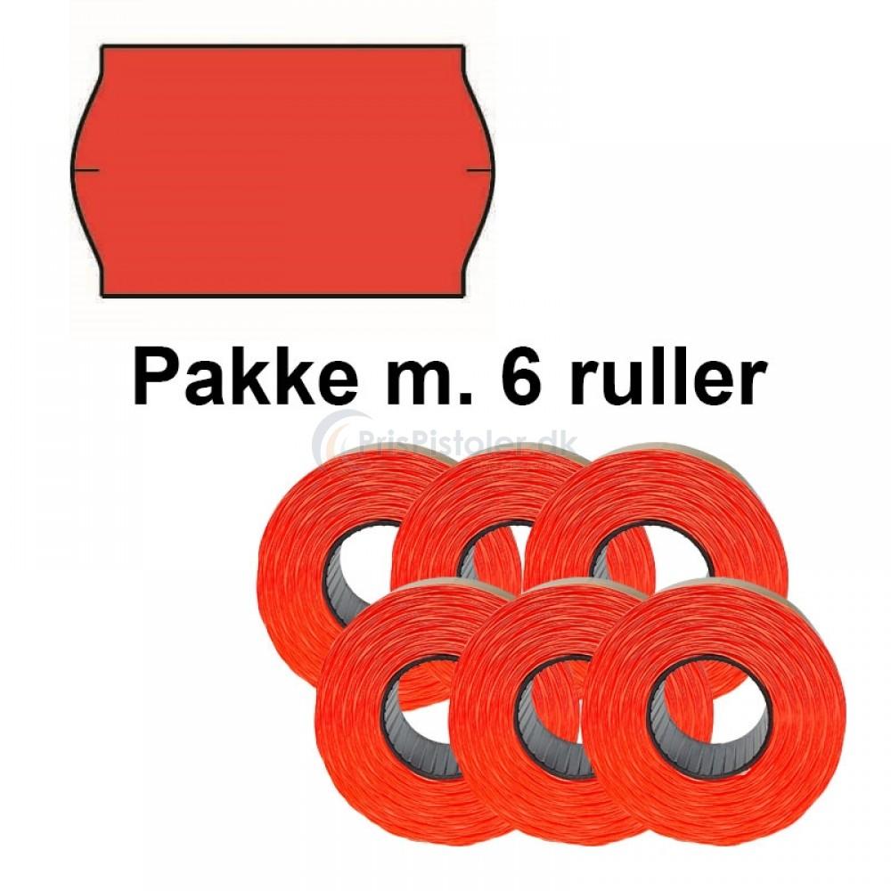 Universal Prismærker 32x19mm aftag. fluor rød - Pakke m. 6 ruller