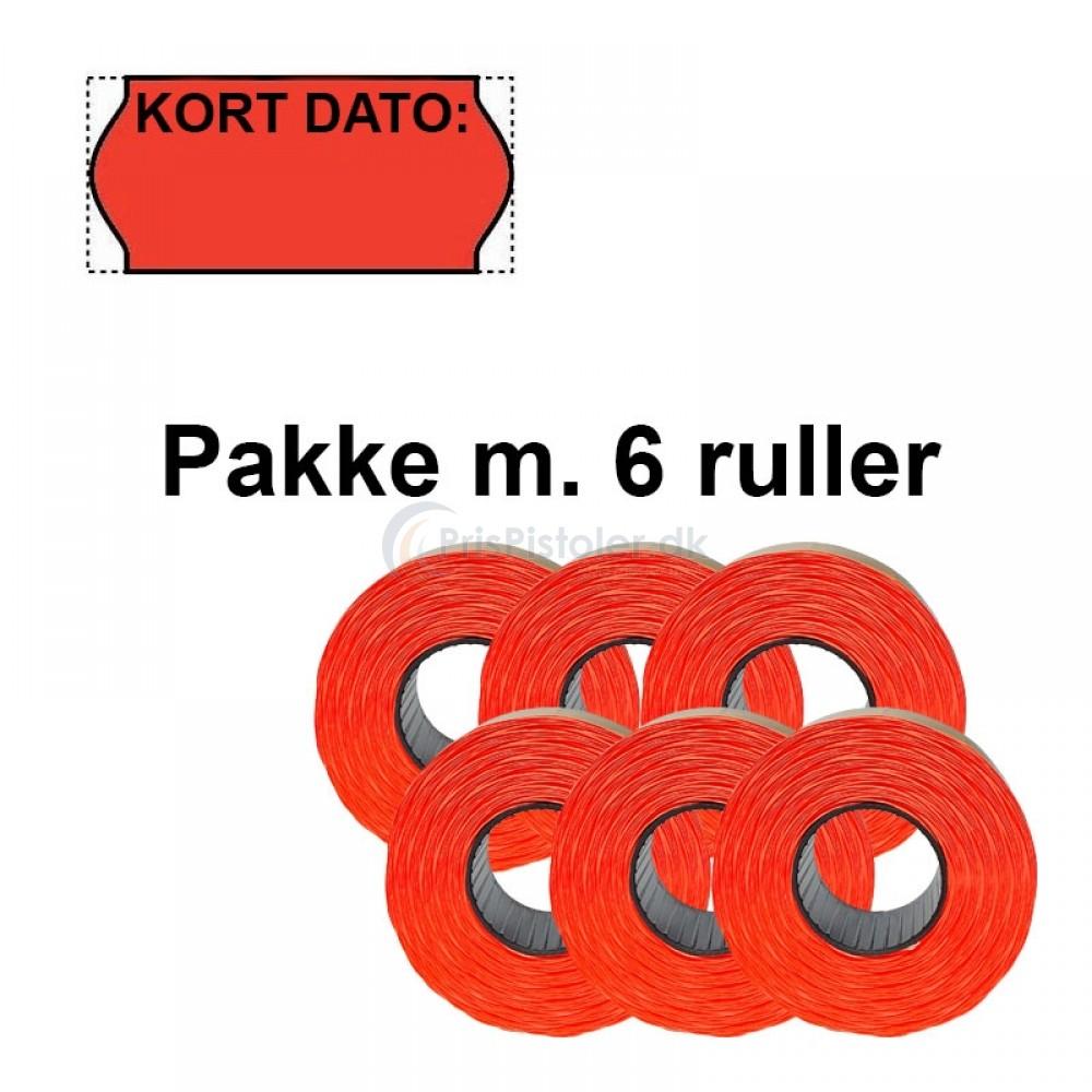 """Universale Prismærker 26x12mm perm fluor røde med """"Kort Dato"""" foroven - Pakke m. 6 ruller"""