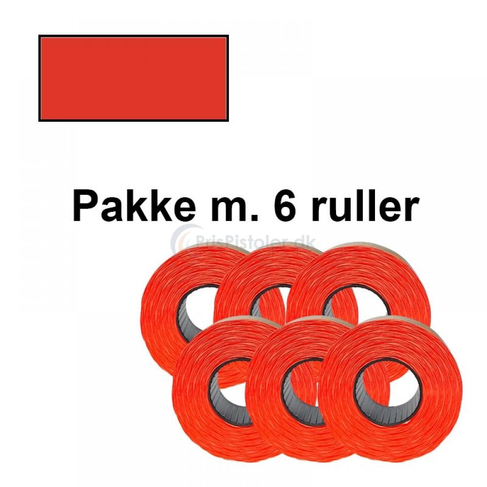 Prismærker 21,6x12mm aftag. fluor rød - Pakke m. 6 ruller