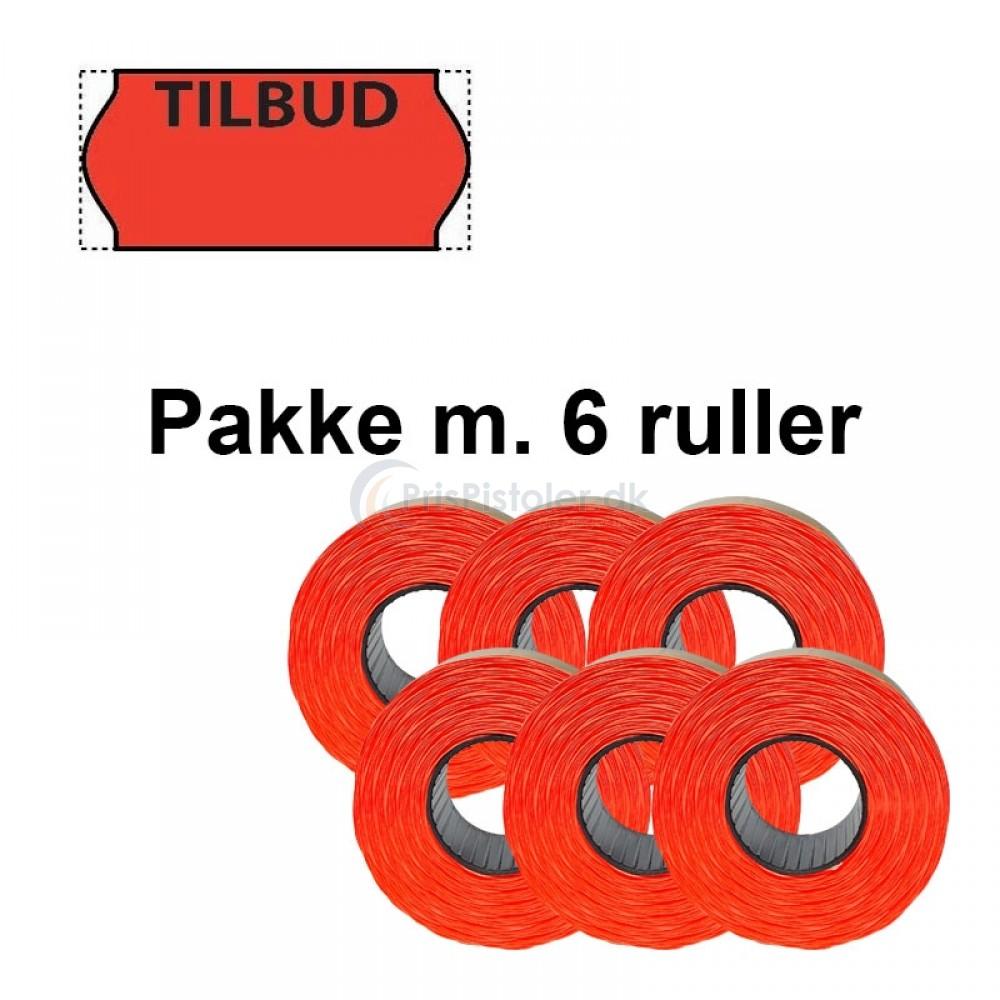 """Universale Prismærker 26x12mm perm fluor røde med """"TILBUD"""" foroven - Pakke m. 6 ruller"""