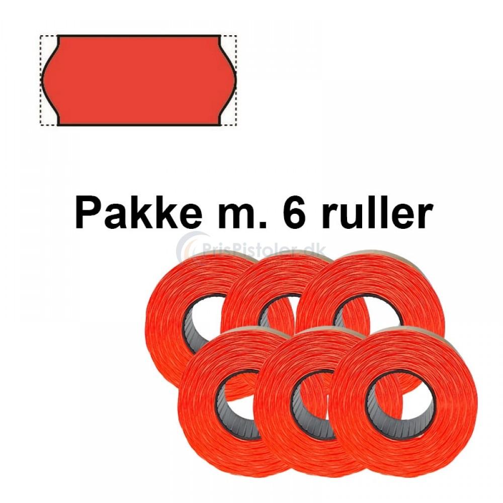 Meto Prismærker 26x12 - fluor rød - aftagelig - Pakke m. 6 ruller