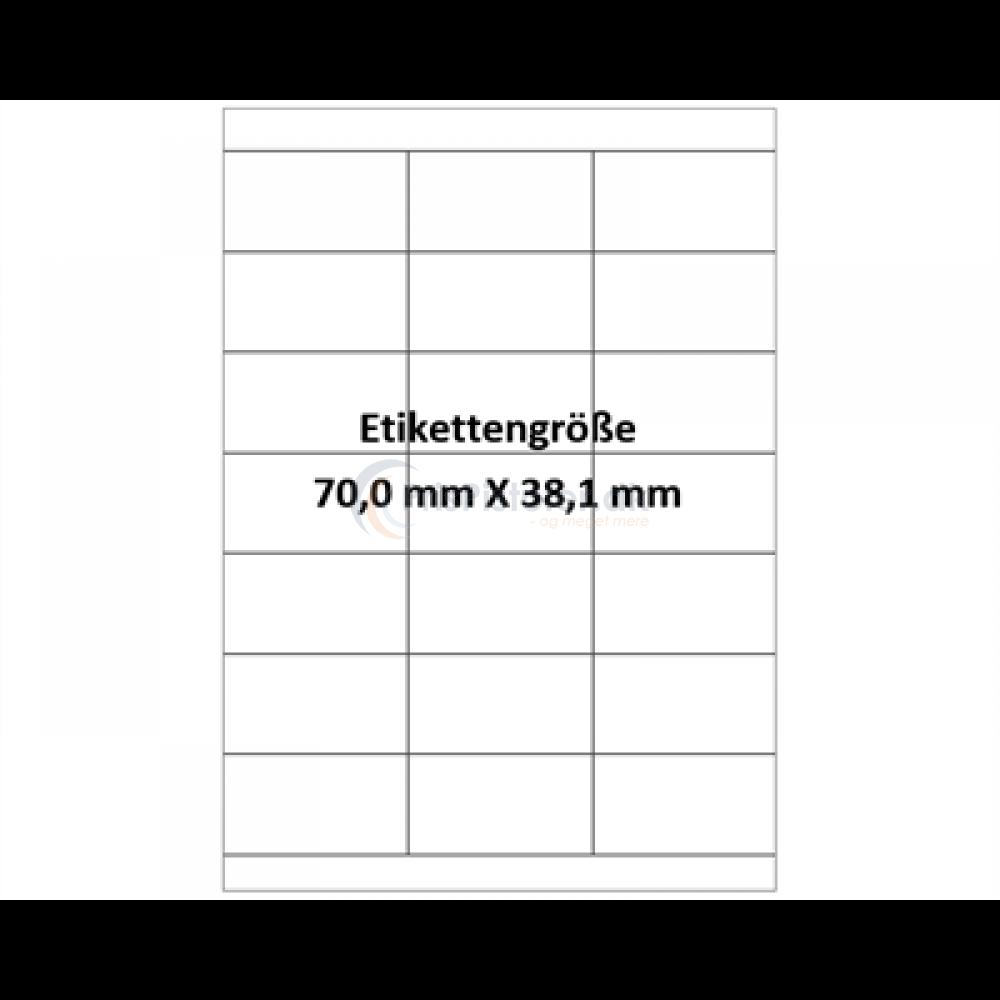 70x38,1 mm vandopløselig label på A4 ark - Pakke m. 50 ark