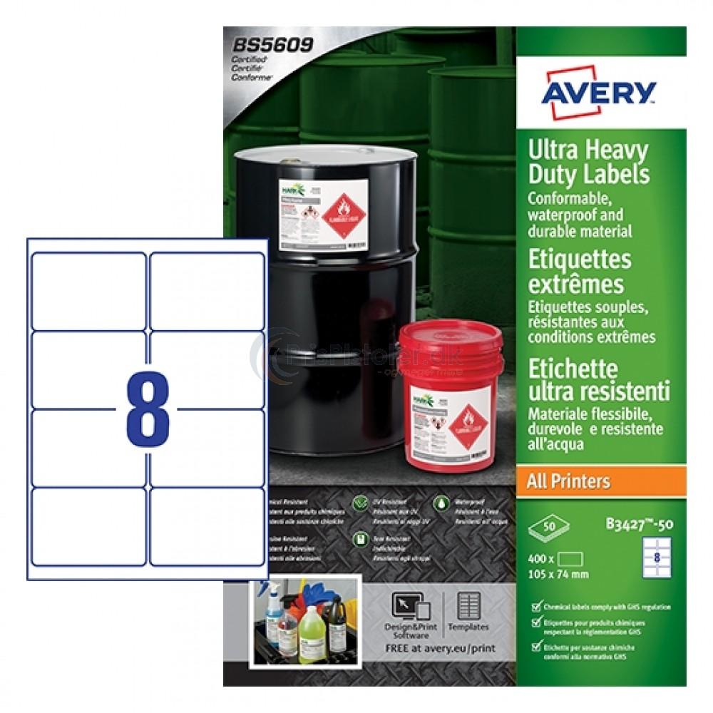Ekstra resistente etiketter A4-ark B3427-50