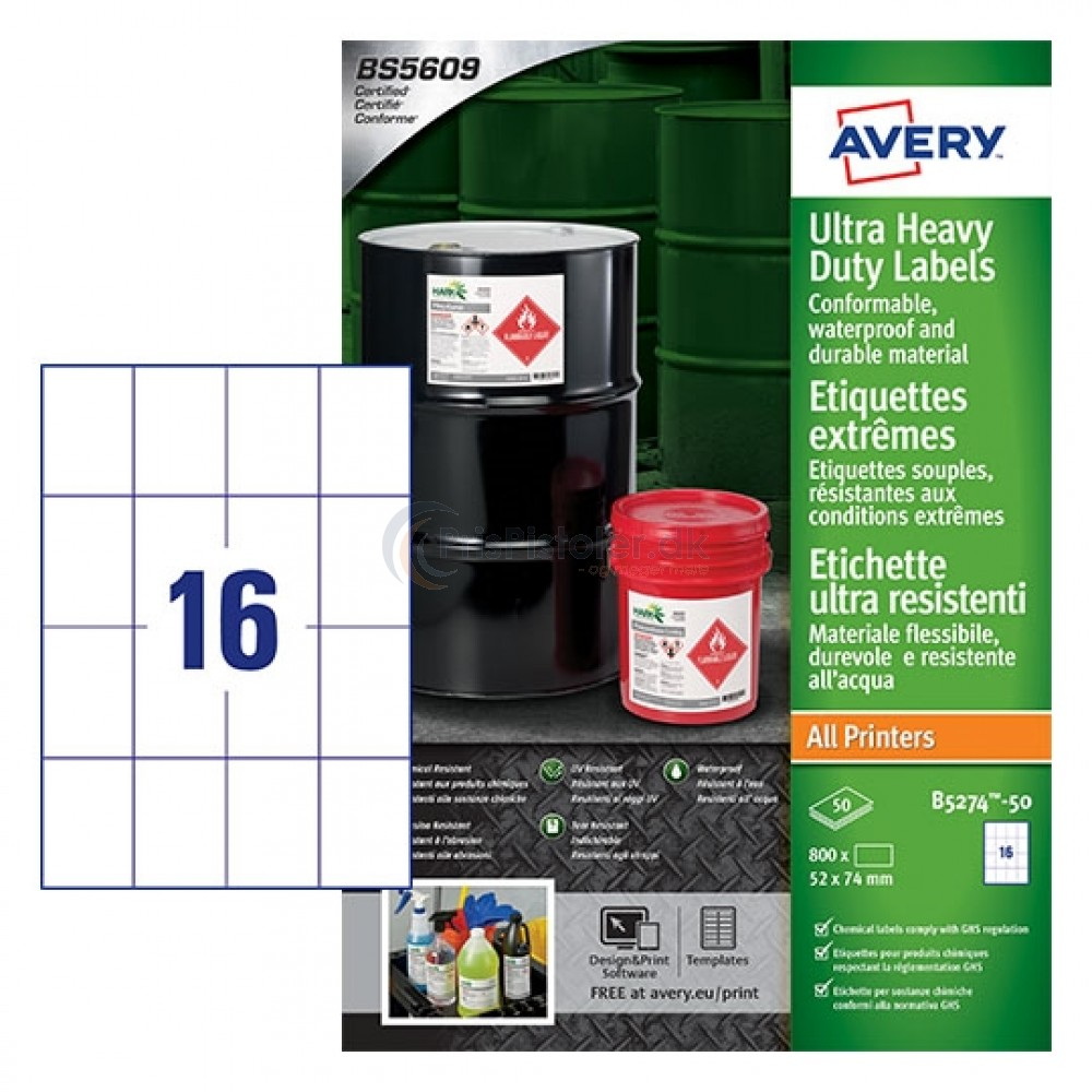 Ekstra resistente etiketter A4-ark B5274-50