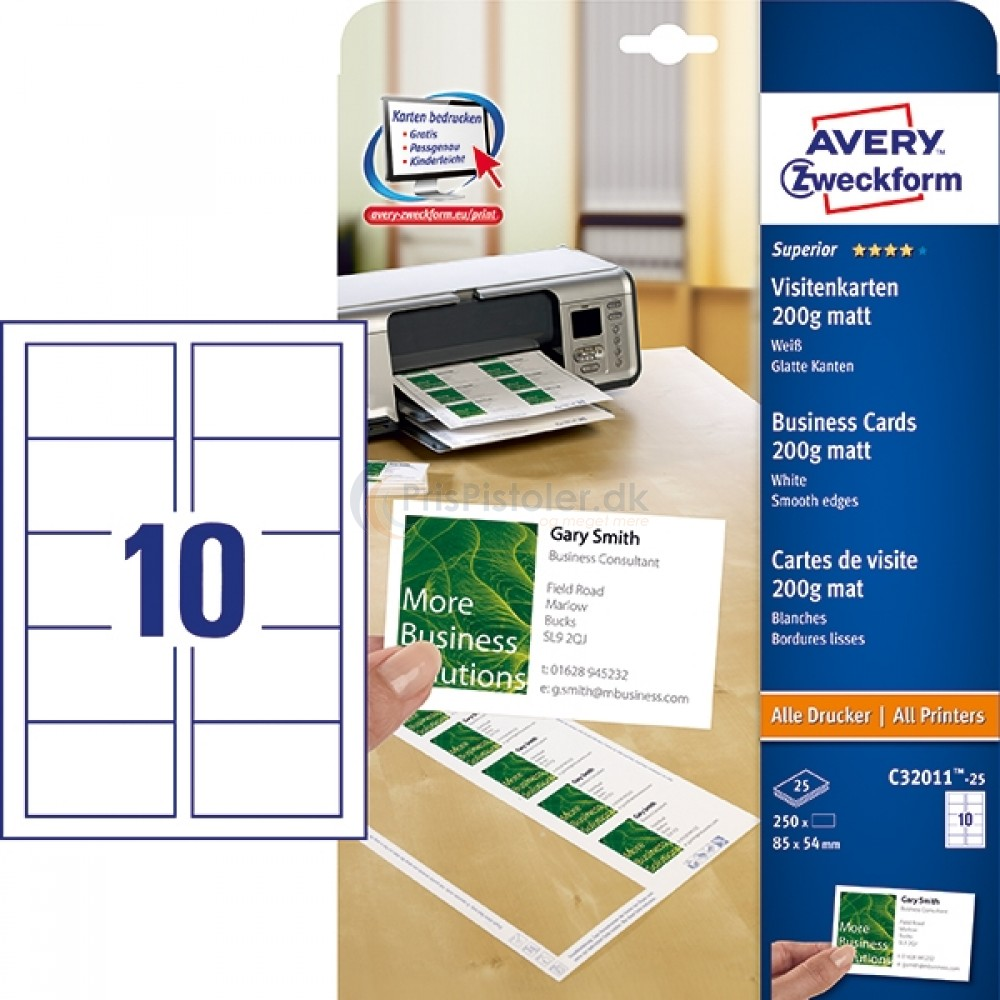 Visitkort Superior mat, Quick&Clean? A4-ark C32011-25