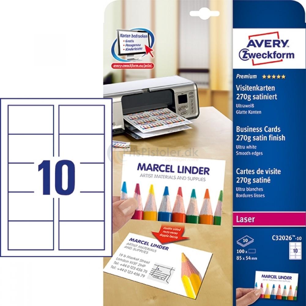 Visitkort premium satin, Quick&Clean? A4-ark C32026-10
