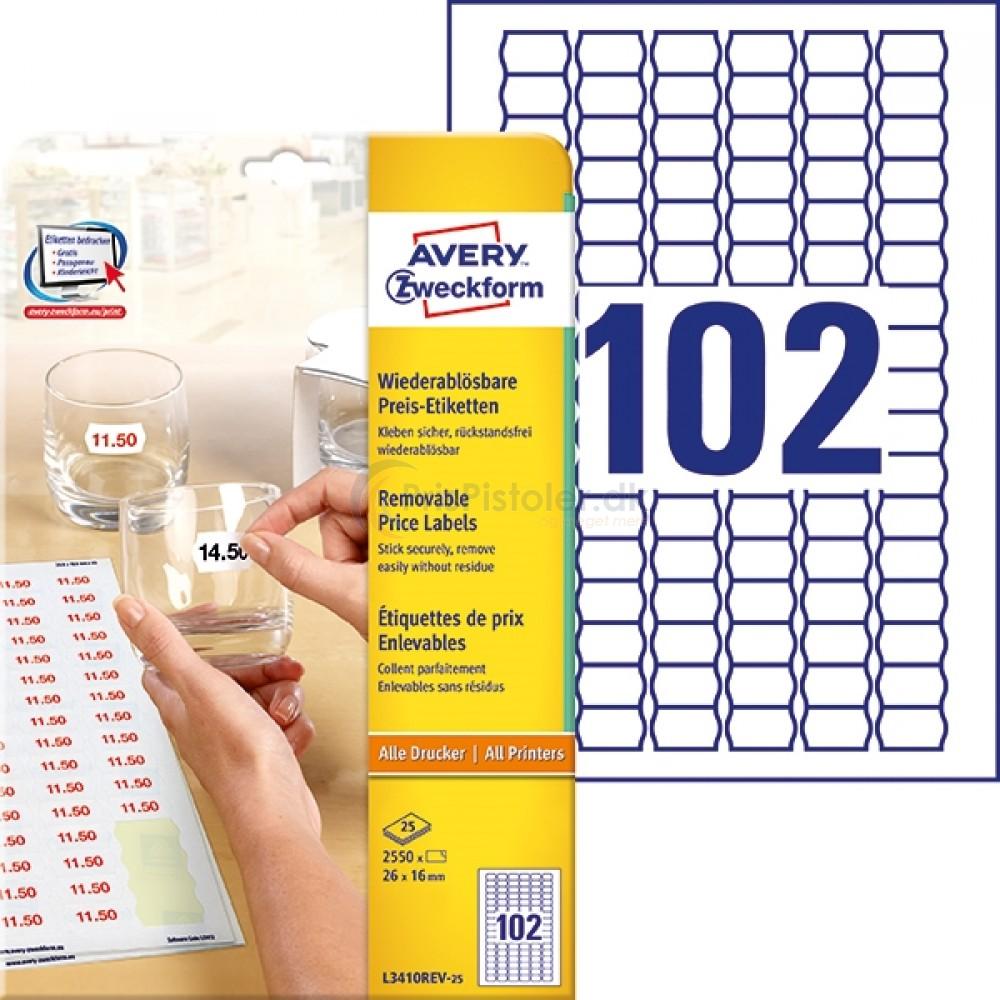 Prisetiketter til A4-printer A4-ark L3410REV-25